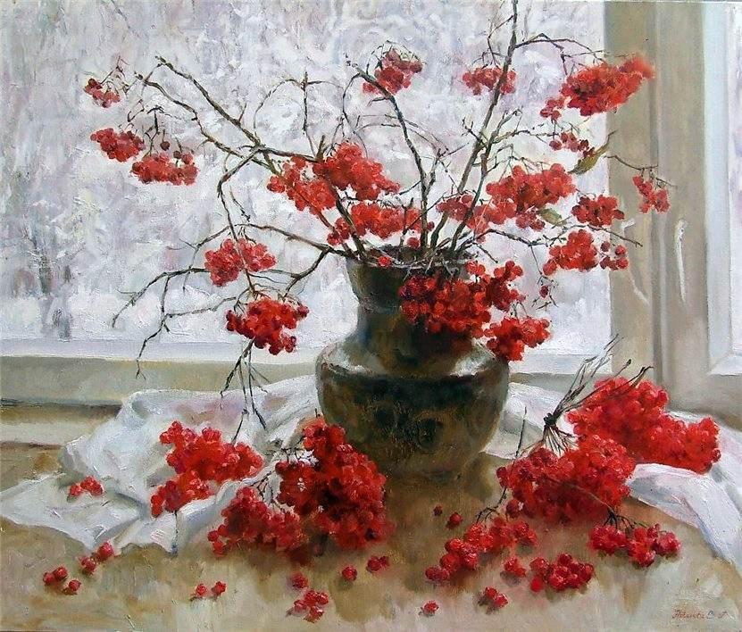 Красные ягоды и первый снег.  Художник Светлана Родионова.  Оригинал взят у 13vainamoinen в Калина красная.