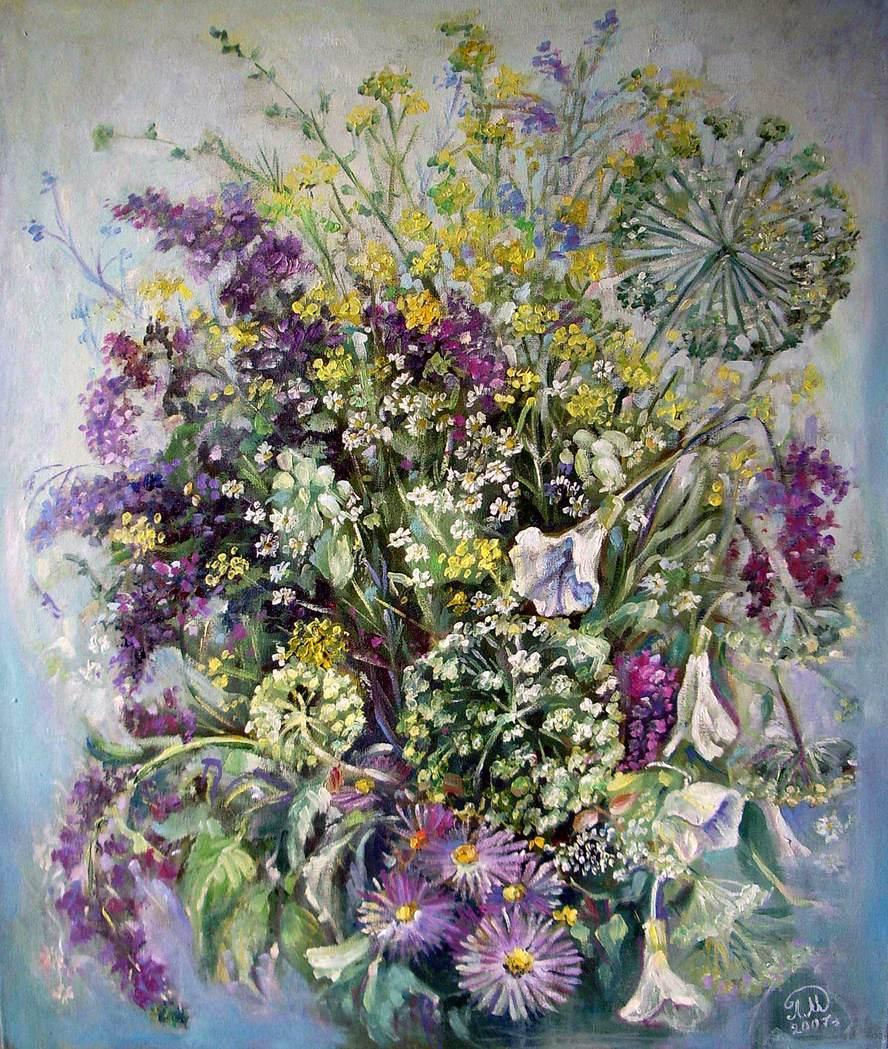 Полевые цветы в живописи картинки 7