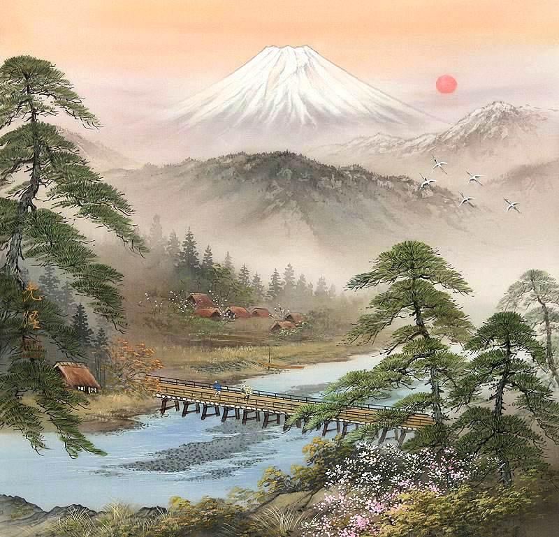 """Схема вышивки  """"Японский пейзаж """": схема."""